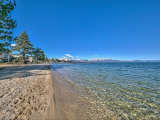 Lake-side Tahoe Home w/Private Beach, Pool & next to Heavenly!